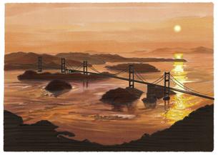 オレンジ色に包まれるしまなみ海道来島海峡大橋のイラスト素材 [FYI04858589]