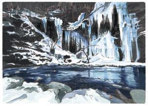岩清水が凍り姿を見せる三十槌の氷柱たちのイラスト素材 [FYI04858591]