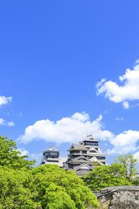 熊本城「復興再建完了の天守閣」二の丸広場より熊本城風景の写真素材 [FYI04858696]