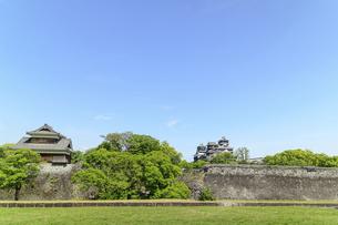 熊本城「復興再建完了の天守閣」二の丸広場より熊本城風景の写真素材 [FYI04858697]