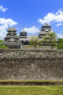 熊本城「復興再建完了の天守閣」二の丸広場より熊本城風景の写真素材 [FYI04858707]