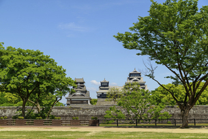 熊本城「復興再建完了の天守閣」二の丸広場より熊本城風景の写真素材 [FYI04858717]