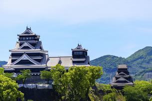熊本城「復興再建完了の天守閣」ビル屋上より山並み背景に熊本城正面撮影の写真素材 [FYI04858855]