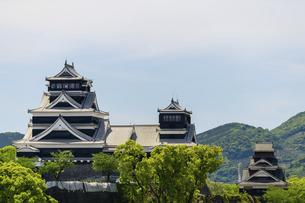 熊本城「復興再建完了の天守閣」ビル屋上より山並み背景に熊本城正面撮影の写真素材 [FYI04858864]