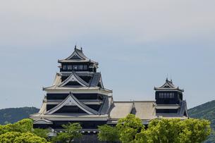 熊本城「復興再建完了の天守閣」ビル屋上より山並み背景に熊本城正面撮影の写真素材 [FYI04858868]