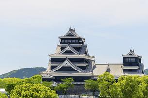 熊本城「復興再建完了の天守閣」ビル屋上より山並み背景に熊本城正面撮影の写真素材 [FYI04858869]