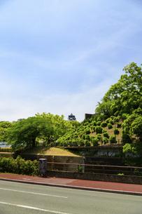 熊本城「復興再建完了の天守閣」路上より撮影の写真素材 [FYI04858876]