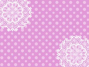 テーブルクロス レース編み 手芸 ピンク 水玉模様のイラスト素材 [FYI04859103]