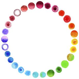 水彩の水玉模様【虹色の装飾枠】のイラスト素材 [FYI04859728]