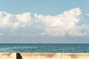 【夏】入道雲が浮かんでいる海の自然風景の写真素材 [FYI04859742]