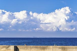 【夏】入道雲が浮かんでいる海の自然風景 香川県の写真素材 [FYI04859743]