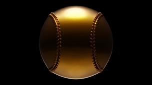 Gold baseball ball isolated on black background. 3d illustration for background.のイラスト素材 [FYI04859763]