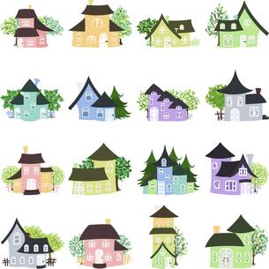 カラフルで可愛い、色々なお家のアイコンのイラスト素材 [FYI04859821]