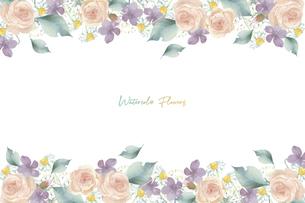 いろいろな淡い色の花のフレームのイラスト素材 [FYI04859905]