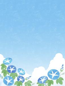 夏空と朝顔の背景 タテのイラスト素材 [FYI04860036]