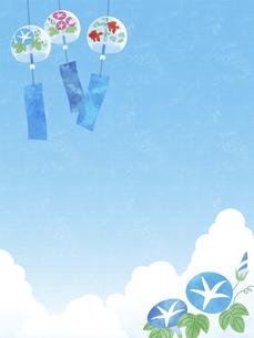 夏空と風鈴と朝顔の背景 タテのイラスト素材 [FYI04860038]