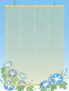 夏空と朝顔と簾の背景 タテのイラスト素材 [FYI04860040]
