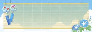 夏空と風鈴と朝顔の背景 ヨコ長のイラスト素材 [FYI04860043]