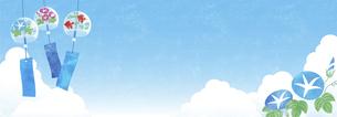 夏空と風鈴と朝顔の背景 ヨコ長のイラスト素材 [FYI04860044]