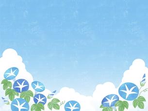 夏空と朝顔の背景 ヨコのイラスト素材 [FYI04860055]