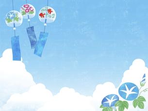 夏空と風鈴と朝顔の背景 ヨコのイラスト素材 [FYI04860059]