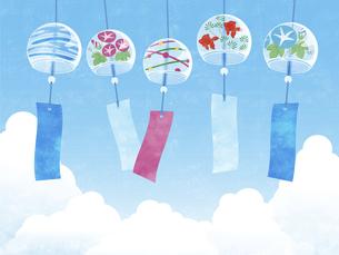 夏空と風鈴の背景 ヨコのイラスト素材 [FYI04860061]