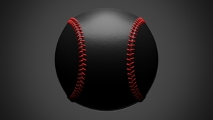 Black baseball ball isolated on gray background. 3d illustration for background.のイラスト素材 [FYI04860218]