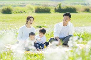 ピクニックを楽しむ親子の写真素材 [FYI04860673]