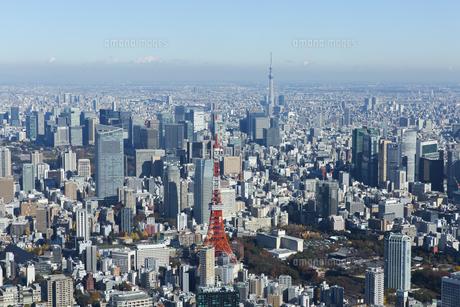 東京タワーと東京スカイツリーが同時に写った空撮写真の写真素材 [FYI04860704]