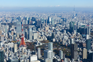 東京タワーと東京スカイツリーが同時に写った空撮写真の写真素材 [FYI04860705]