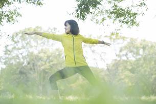 公園でヨガをする女性の写真素材 [FYI04860740]