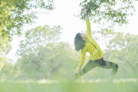 公園でヨガをする女性の写真素材 [FYI04860742]