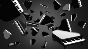 Many black pianos on gray background. 3D rendered illustration for background.のイラスト素材 [FYI04860899]