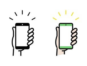 スマートフォンと手のアイコンのイラスト素材 [FYI04860977]