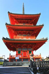 世界文化遺産 京都・清水寺の三重塔の写真素材 [FYI04861560]