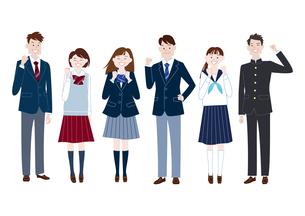 ガッツポーズをする学生服の男子学生と女子学生の集合体のイラスト素材 [FYI04861594]
