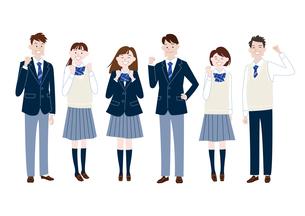 ガッツポーズをする学生服の男子学生と女子学生の集合体のイラスト素材 [FYI04861595]