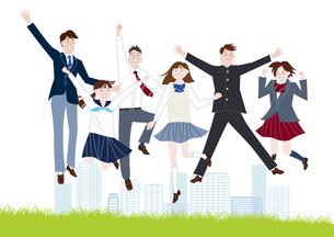 芝生でジャンプする学生服の男子学生と女子学生の集合体のイラスト素材 [FYI04861596]