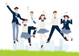 芝生でジャンプする学生服の男子学生と女子学生の集合体のイラスト素材 [FYI04861597]