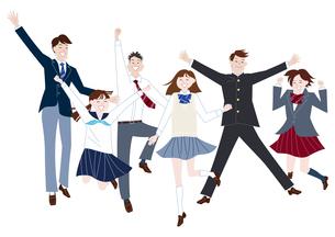 ジャンプする学生服の男子学生と女子学生の集合体のイラスト素材 [FYI04861600]