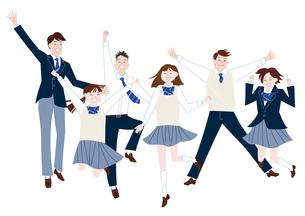 ジャンプする学生服の男子学生と女子学生の集合体のイラスト素材 [FYI04861601]