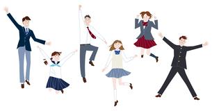 ジャンプする学生服の男子学生と女子学生の集合体のイラスト素材 [FYI04861602]