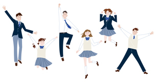 ジャンプする学生服の男子学生と女子学生の集合体のイラスト素材 [FYI04861603]