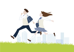 芝生を走る男子学生と女子学生のイラスト素材 [FYI04861604]