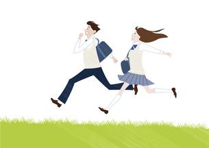 芝生を走る男子学生と女子学生のイラスト素材 [FYI04861605]