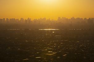 夕方、黄金色に染まる東京の街並みの写真素材 [FYI04862260]