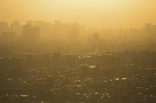 夕方、黄金色に染まる東京の街並みの写真素材 [FYI04862262]