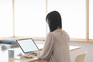 在宅で仕事をする女性の写真素材 [FYI04862296]