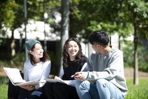 外でノートを広げて話している学生3人の写真素材 [FYI04862578]
