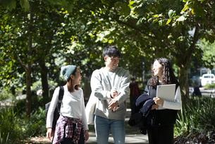 笑いながら並んで歩いている若者3人の写真素材 [FYI04862583]